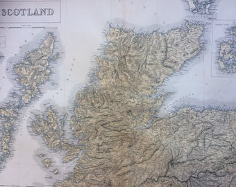 1859 SCOTLAND (North) extra large rare original antique A & C Black Map with inset map of the Orkney Isles - Hebrides - Skye - Lewis