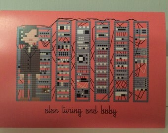 Alan Turing and Baby blank greeting card