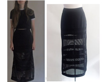 Black Skirt, Partial Mesh,Partial Lined,Boho Vintage or Elegantly long. Size Medium, Maxi /Midi