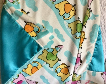 Baby Blanket, Baby Silky, Elephants and more Elephants, Minky, Turquoise polyester satin, Pink rick rack