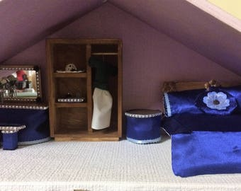 Lower price!!!!!!!!!!!! Stunning one of a kind blue satin bedroom set featuring 13 hand made/hand finished pieces.
