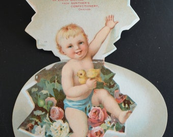 Easter Die Cut Embossed Advertising Egg Baby with Chicks Mechanical Pop Up Gunther's Confectioners