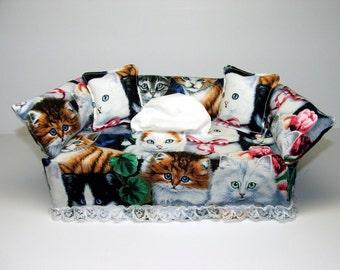 Kittens fabric tissue box cover, Kleenex box cover.