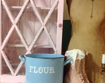 Vintage Light Blue French Enamel Ware Flour Can or Pot with Handles White Lettering