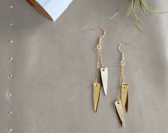 Long gold leather earrings, Shark teeth earrings, Gold spike, Leather jewelry, Metallc leather, Ecofriendly, Long earring, Glam gift for her