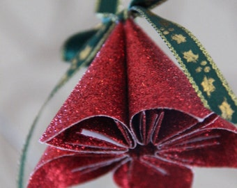 Rot Glitter Bell - Christbaumkugel Papier - Origami-Weihnachtsdekoration