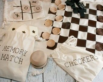 Campfire Arcade - Wood Game Set - Checkers / Dominoes/ Tic-Tac-Toe and More