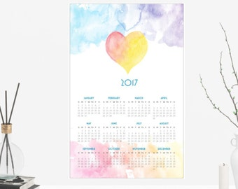 2017 Colorful Watercolor Poster Wall Calendar 12 months