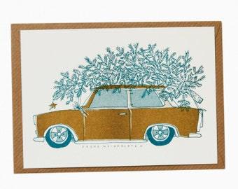 Weihnachtskarte, christmas card, Christmas, Weihnachten, Gußkarte, greeting card, Christmas tree, Risograph, Postcard, Advent, siebdruck,