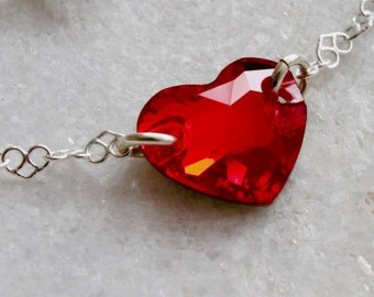 Swarovski Crystal RED Heart Bracelet, Oxidized Sterling Silver Heart Chain Bracelet