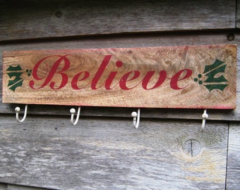 Wall Hooks,Reclaimed Wood Sign,Rustic Believe Sign,Christmas Stocking Holder,Christmas Sign,Wood Wall Art,Holiday Decor,Christmas Gift Ideas