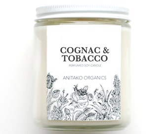 COGNAC & TOBACCO - Perfumed Soy Candle, Vegan, Natural Home Fragrance