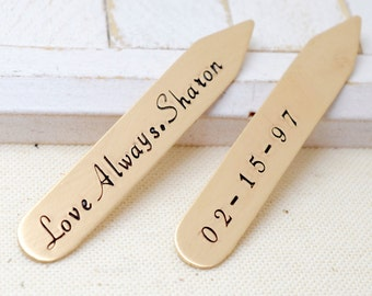 Valentines Gift, Gift for Him, Bronze Collar Stays, Personalized Collar Stiffeners, 8th Anniversary, Engraved Collar Stays, Gift for Husband