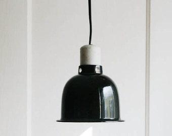 Industrial Chic Pendant Light -Vintage Black Enamel Aluminum Shade Hanging Light Fixture- Plug In Light - Cord Switch - Silver