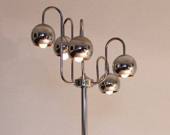 5 ARM FLOOR LAMP chrome eyeball space age retro vintage mid century 1970 era