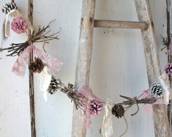 Pinecone Garland/ Pink White Pinecones/ Valentine's Decor/ Rustic Holiday Decor/ Christmas Garland/ Vintage Wedding/ Cottage Chic Garland