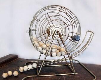 Vintage Game Decor - Wire Bingo Cage - Wooden Bingo Balls - Collectible Kitsch - Metal - Vintage Toys and Games - Game Room Decor
