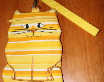 Kitty-themed Zipper Pouch or Wristlet - with Wrist Strap