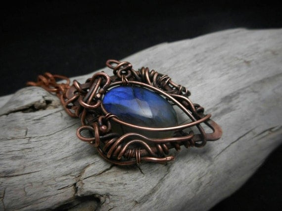 Blue Flash Labradorite - Copper Wire Wrapped Pendant- Labradorite Copper necklace - Soldered Necklace - Boho Necklace