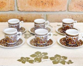 Japanese 1970s transfer printed set of 6 fine china mini duos demitasse cups & saucers - espresso - short black