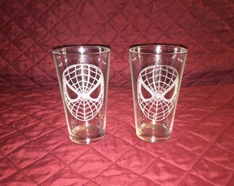2 Hand Etched Spider-Man Pint Glasses!