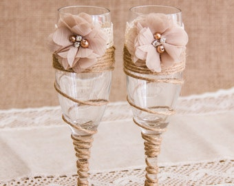 Champagne Wedding Toasting Glasses Twine Wedding Champagne Flutes Champagne Twine Glasses Ristic Wedding Glasses