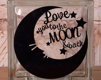 Glass Block LED Night Light Love you to the Moon & Back - Stars Kids