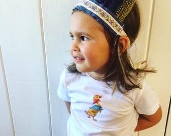 Organic cotton T shirt, girls white T shirt, girls summer top, girls retro t shirt, summer t shirt , toddler tee shirt