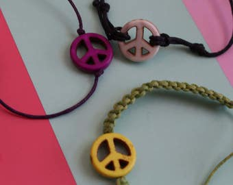 hemp peace sign bracelet