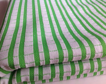 Vintage 1960 stripe fabric, retro mod apparel fabric, vintage clothing fabric, green and white stripe fabric by the yard
