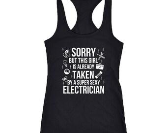 Electrician Racerback Tank Top T-Shirt. Funny Electrician Tank.