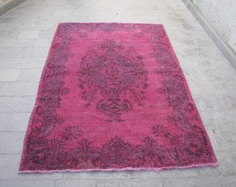 FUCHSIA RUG-FUCHSIA Color Turkish Oushak Rug-Decorative Fuchsia Rug-Fuchsia Color Overdyed Turkish Oushak Rug-Fuchsia Color Distressed Rug