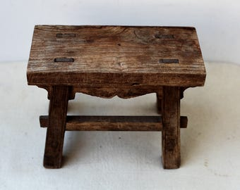 Chinese antique wood stool wooden stool Old hand made stool