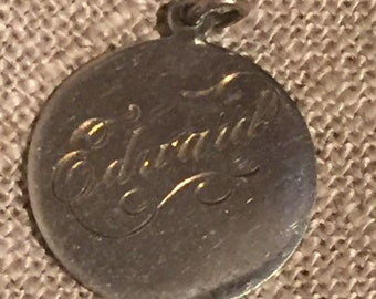 Vintage Sterling engraved name pendant: engraved with name of Edward