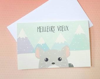 """Carte de voeux """"Chinchilla dans la neige"""" - Edition limitée"""