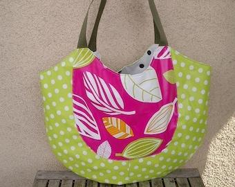 Bag pink beach bag oilcloth beach bag