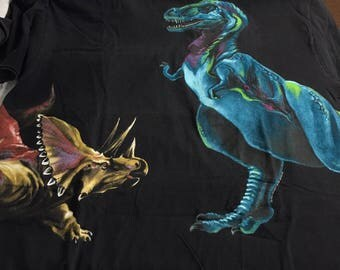 Vintage T-Rex & Triceratops Black X-Large Short Sleeve Tee T-Shirt XL Dinosaurs