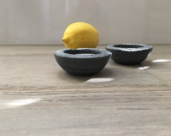 Limited Time Only. Set of 2 Black Concrete Tea Light Holders with White Marble. Cement Home Decor. Cement Candle Holder.