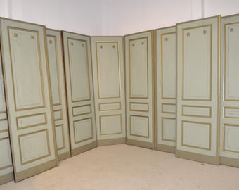 Antique French Painted Doors Complete Room Paneling 32 Feet of Architectural Decor 19th Century #5710