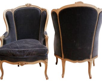 Comfy Pair of Antique French Louis XV Bergere Arm Chairs, Navy Fabric with Painted Wood Frames, 1900's #8072