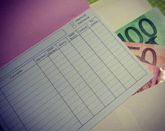 System of envelopes of money - Cash envelope system - 5 envelopes with booklets