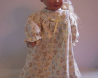 """Yellow Flannel Nightgown for 18"""" Doll"""