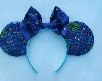 Tardis themed Mickey ears