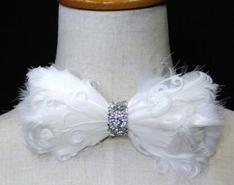 White feather bow tie, ON Stage decoration, feather bowtie, White bowtie, White prom bowtie, CK Bow, CKbow, BT16004