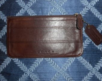 "VINTAGE COACH BROWN Zippered Pouch 7.5"" X 4"" W/Hangtag"