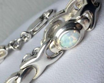 Vintage 925 Sterling Silver Oval cut Opal tennis bracelet 8mm 7 1/4 inch birthday anniversary wedding gift