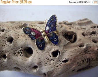 ON SALE Vintage 1960s Colorful Metal Fly Away Butterfly Pin 112116