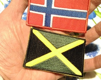 flag , vintage patch 90s ,Norway, Jamaica,