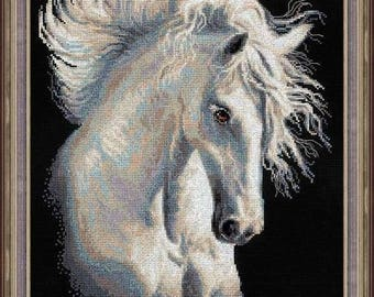 "Cross Stitch Kit by Riolis ""ANDALUSIAN"" - Horse cross stitch"