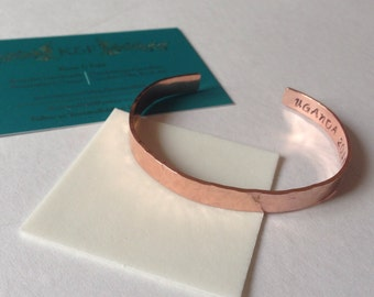 Hand stamped personalised cuff bracelet any quote any name any message solid copper